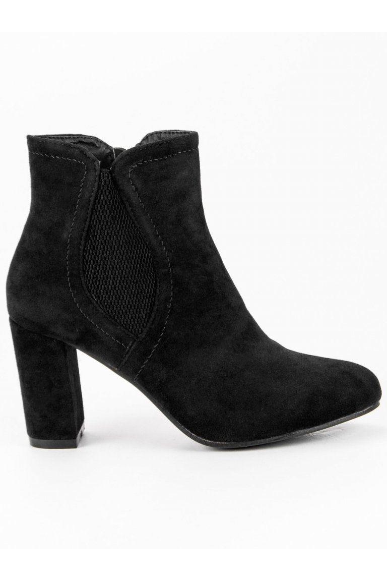 Semišové topánky čierne členkové čižmy na stĺpovom opätku CnB ... 1249cc10e13
