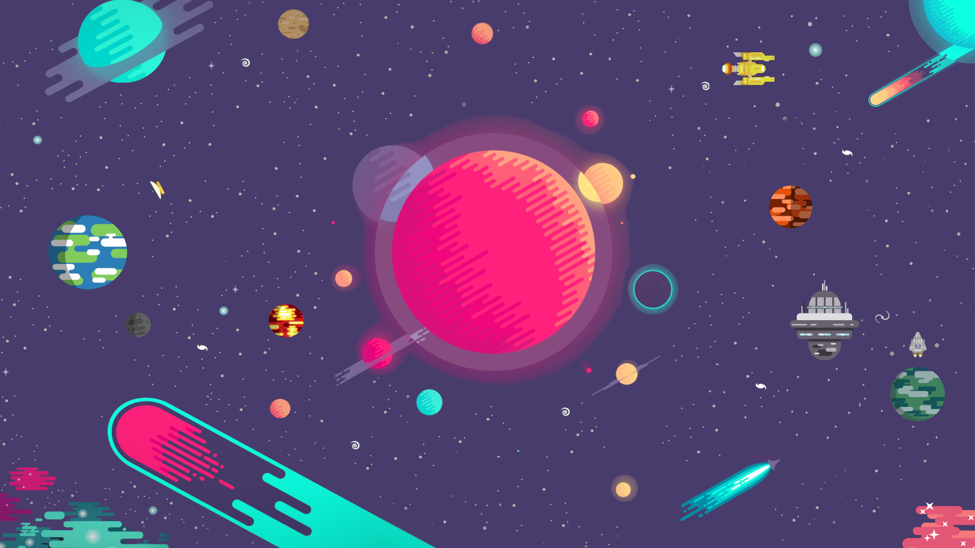kurzgesagt stylized wallpaper made from a bunch of phone