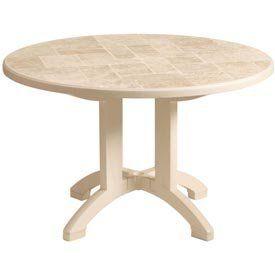 Grosfillex® Siena 38 Round Folding Table Sandstone by