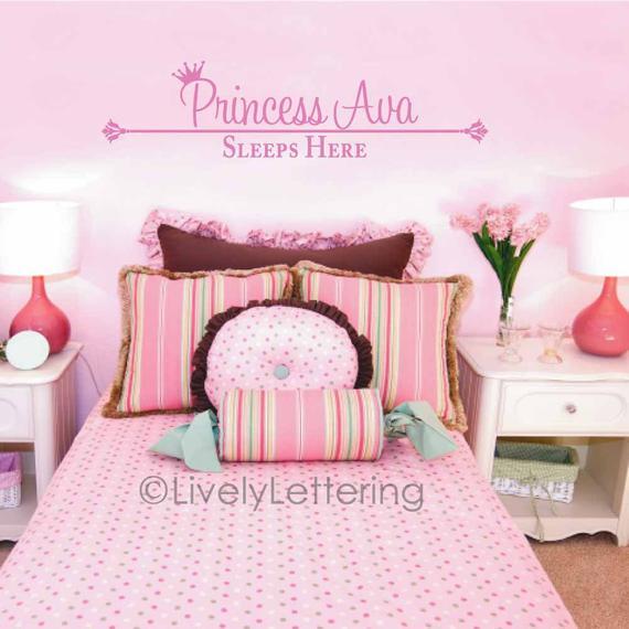 Princess decal, Personalized Name wall decal, Princess Sleeps Here