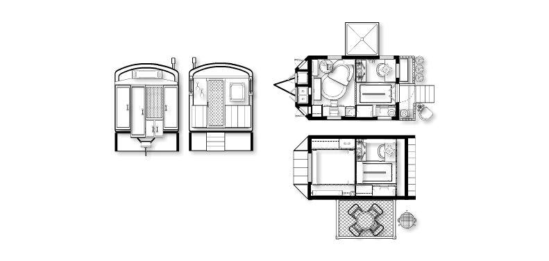 "new plan) 8.5' x 12' vardo with 24"" folding porch & bump out over"