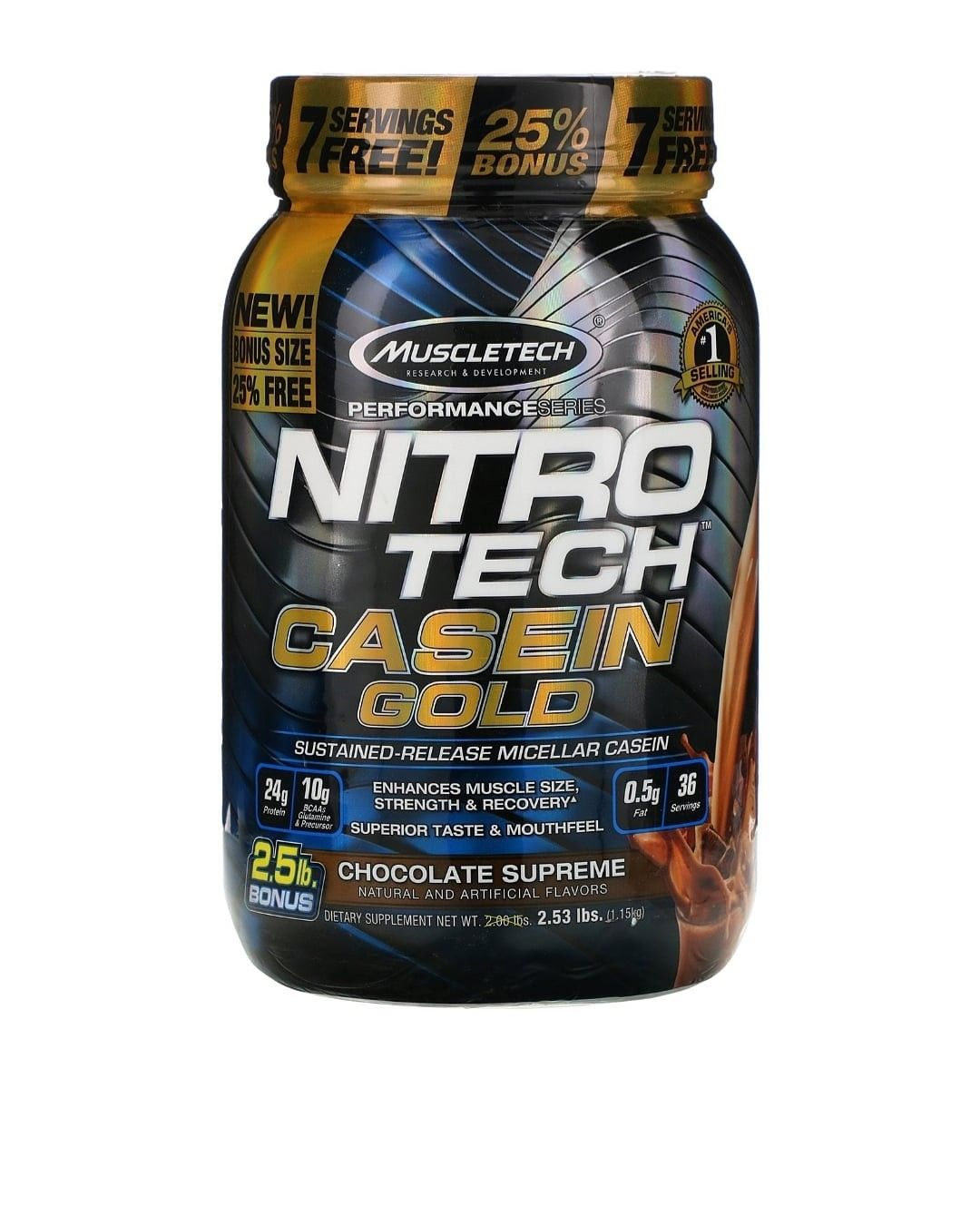 Muscletech Nitro Tech Casein Gold فانيليا كريمية 2 50 رطل 1 13 كجم Discontinued Item Nitro Tech Muscletech Nutrition Branding