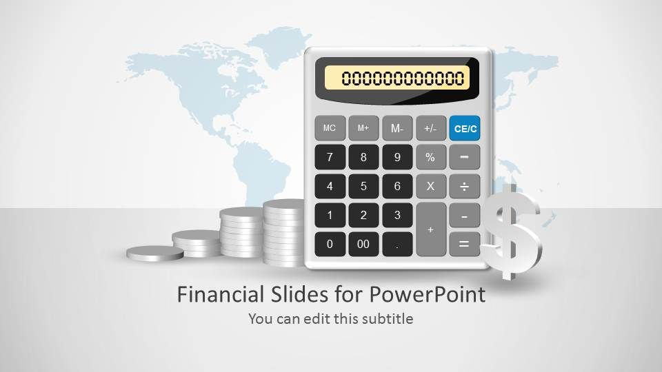 Calculator Slide Design Shape For Point With Coins And Dollar Sign