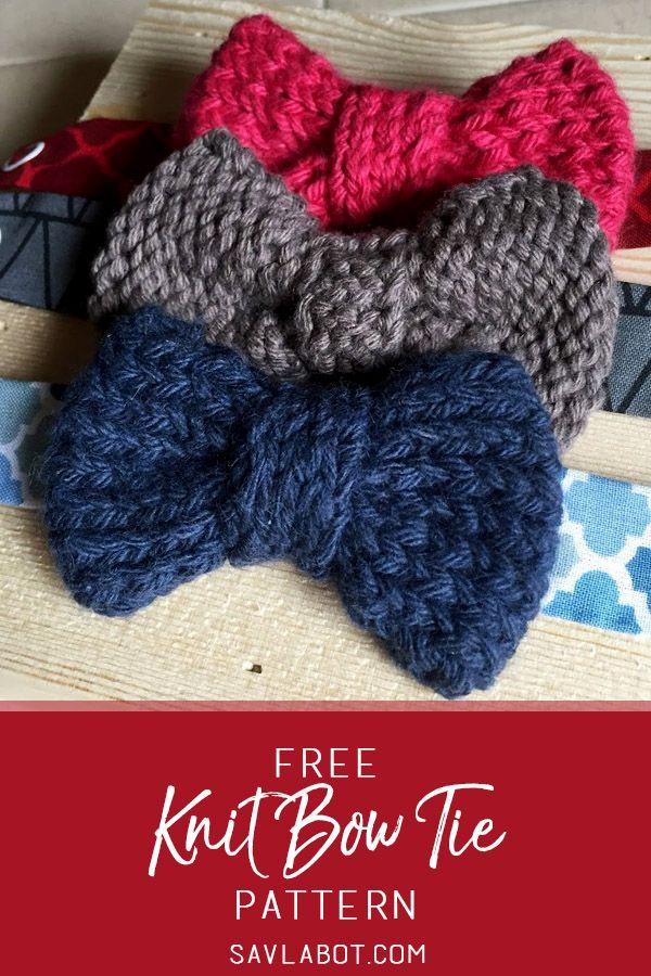 Free Knit Bow Tie Pattern   Bowtie pattern, Crochet ...
