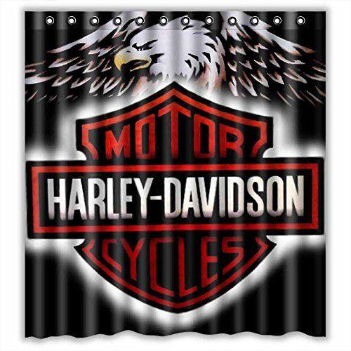 Custom Harley Davidson Logo Waterproof Bathroom Shower Curtain