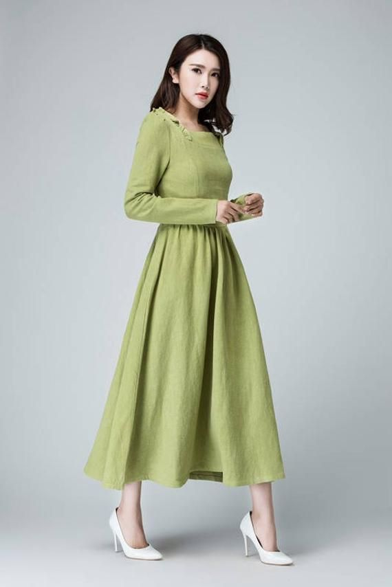 Sage green dress linen maxi dress long dress ruffle dress | Etsy #sagegreendress