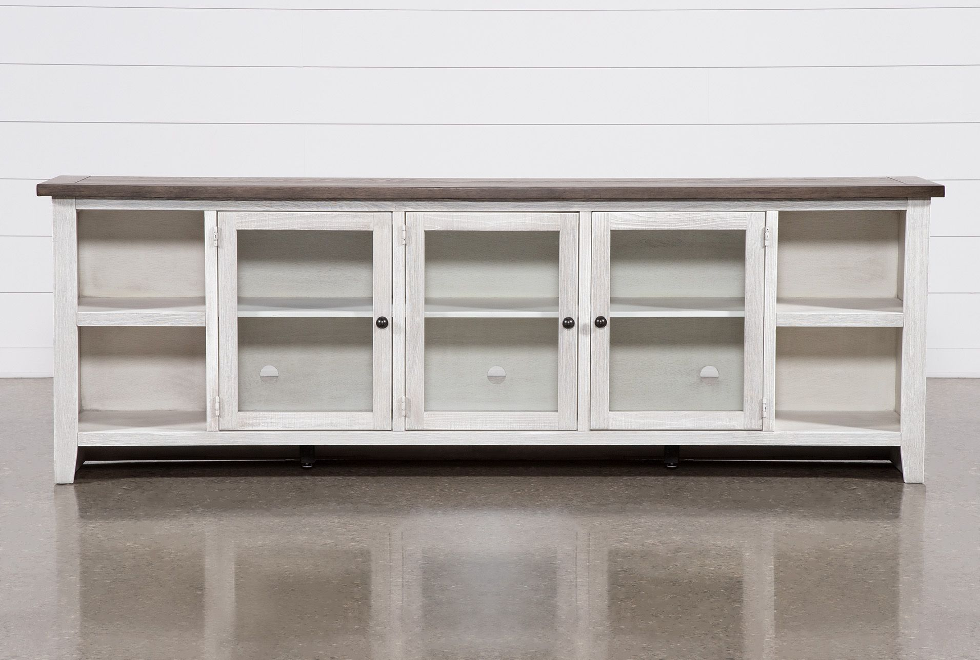 Dixon White 97 Inch Tv Stand With Glass Doors Tv Stand With Glass Doors Tv Stand Living Spaces White Tv Stands Tv stands with glass doors