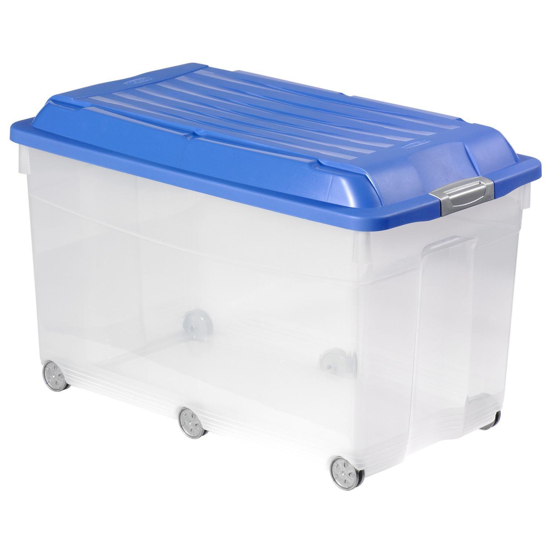 Boite De Rangement Box Jumbo A Roulettes Bleu Transparent Curver La Boite A Prix Boite De Rangement Rangement Et Coffre De Rangement