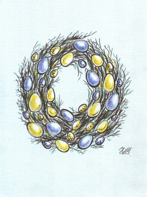 Рисунок пасхальный венок