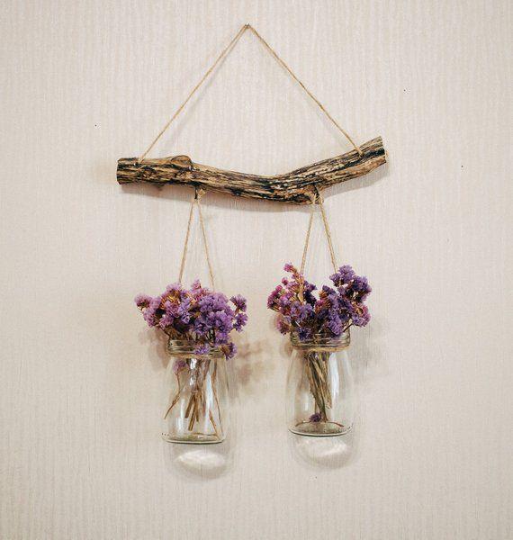 Boho bedroom decor, mason jar decor, makeup organizer, makeup brush holder flower vase, hanging vase #vaseideen