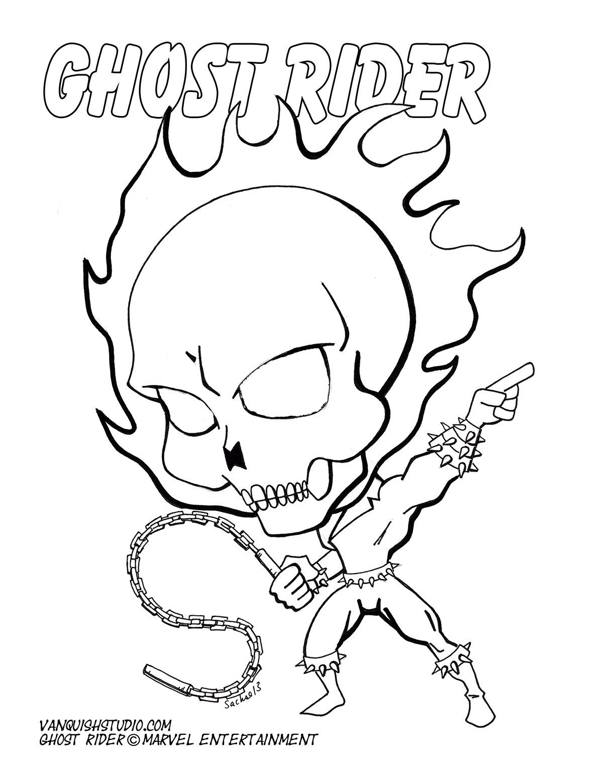 Free Coloring Page Of Chibi Ghostrider Coloring Pages Easy