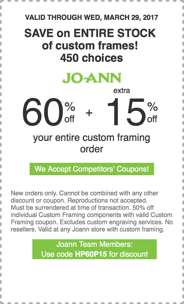 60% off + extra 15% off your entire custom framing order.