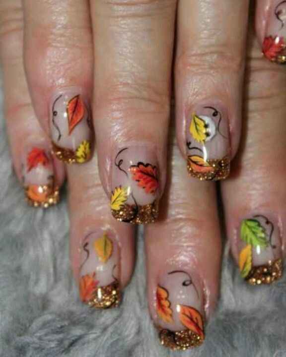 sparkle french leaves fall nails pinterest leaves