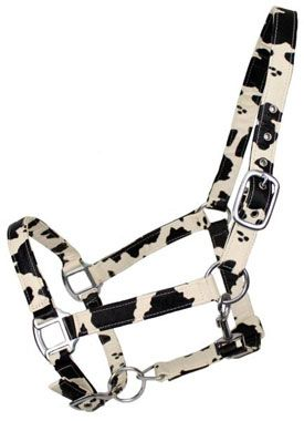 Synthetic Leather Halter With Cowhide Print | ChickSaddlery.com - Mocha would kill me.. but Cowboy may like it