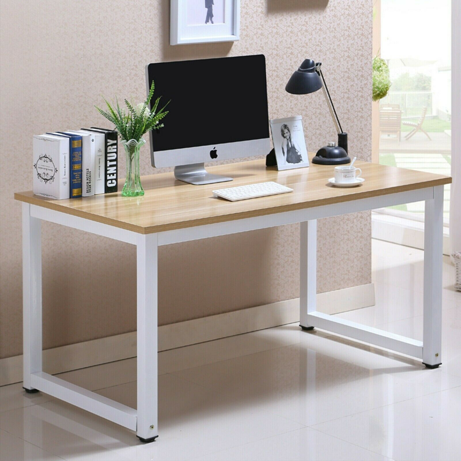"""55/"""" Wood Computer Desk PC Laptop Table Reading Workstation Home Office Furniture"""