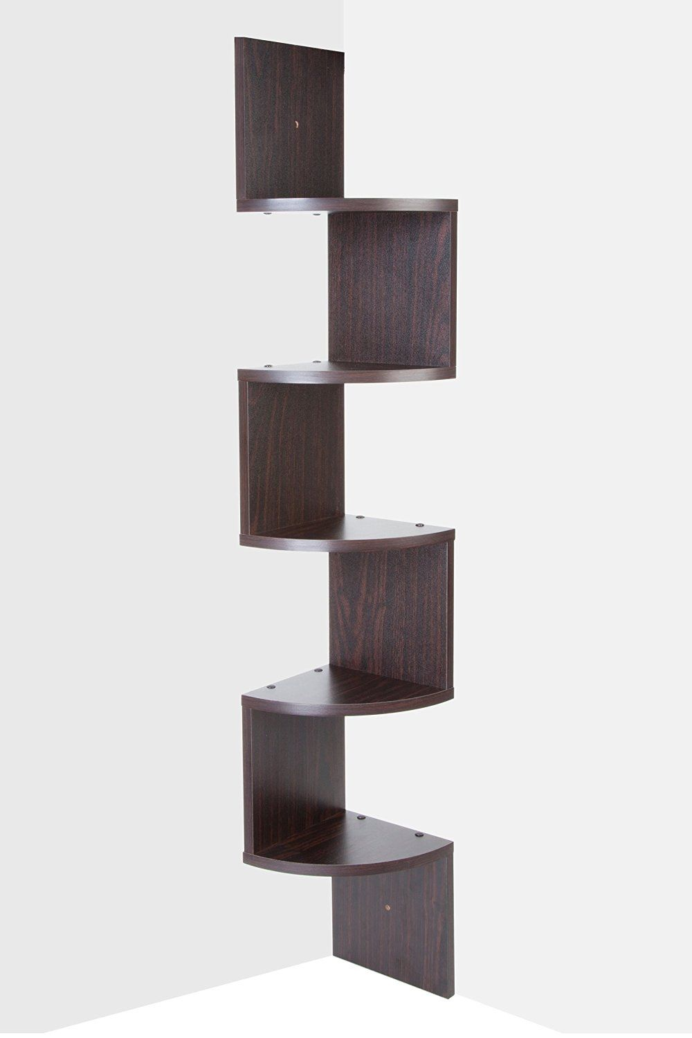 Saganizer corner shelf brown corner shelf unit 5 Tier corner shelves ...
