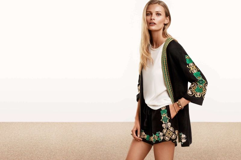 Model wears Embroidered Jacket and Short-Sleeve Blouse and Embroidered Shorts for lookbook 2016 photoshoot