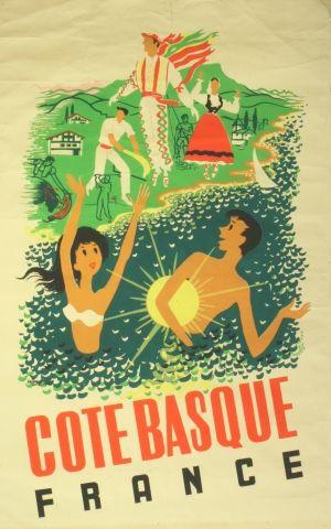 cote basque france 1950s original vintage poster listed on jet set. Black Bedroom Furniture Sets. Home Design Ideas