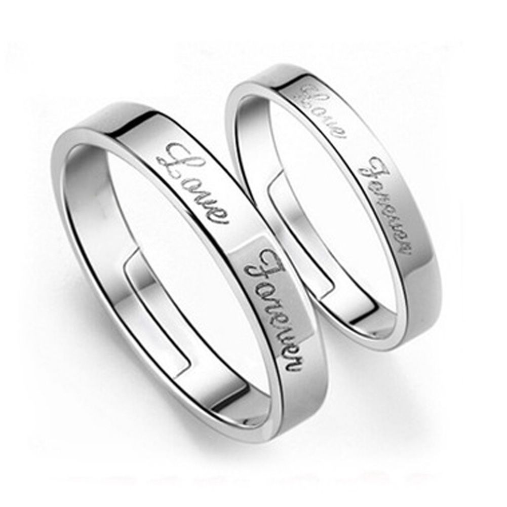 0e626134f0 Vintage Couple Rings Wedding Rings For Men And Women Forever Love Letters  Design Adjustable Opening Silver Plated Ring #Affiliate