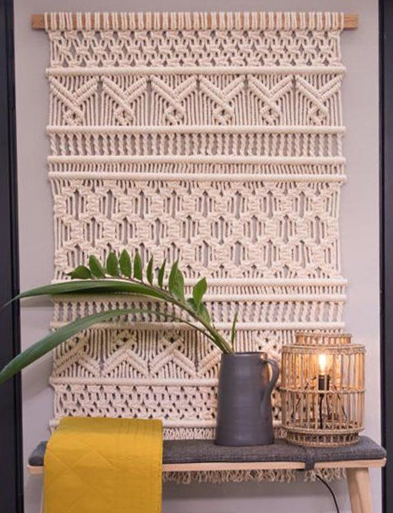 Xxl Large Macrame Wall Hanging Woven Fiber Art