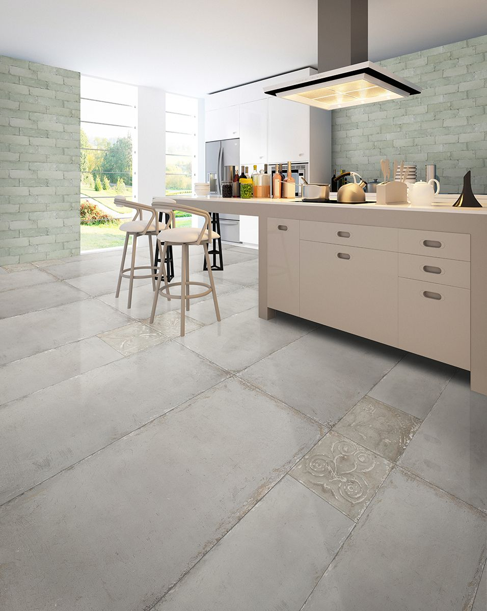 Open Plan Kitchen Extension Featuring Rustic Concrete Effect Floor Tiles Modern Kitchen Isl Modern Kitchen Tile Floor Modern Kitchen Tiles Cheap Tile Flooring