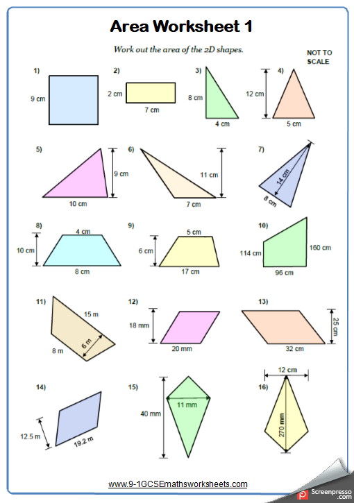 Area Of 2d Shapes Maths Worksheet And Answers 9 1 Gcse Foundation Grade 3 Year 7 Shapes Worksheets 2d Shapes Area Worksheets