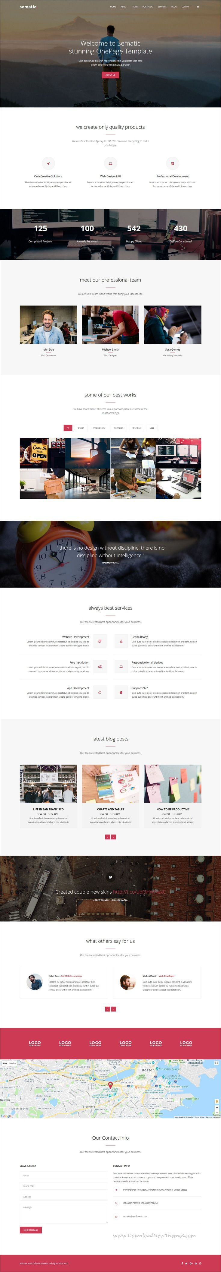 Sematic One Page Html5 Template Retina