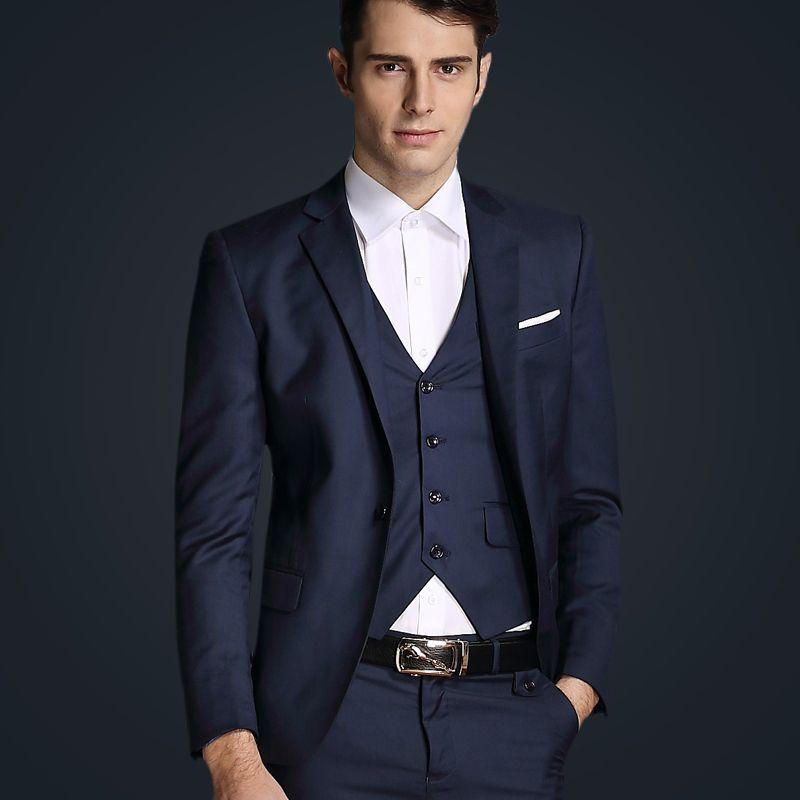 2016 Luxury Mens Wedding Suits Blazer Pants Vests 3 Piece Men Business Party