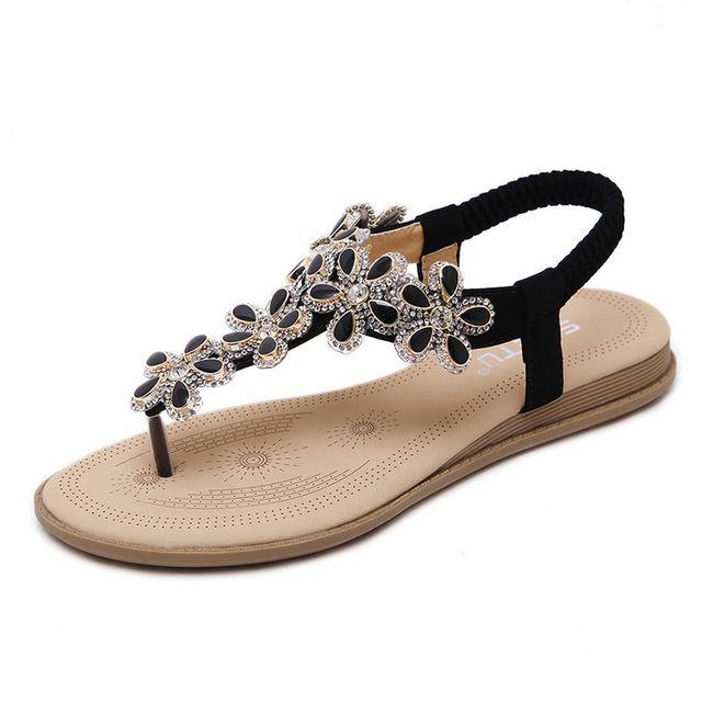 1ebdb1c0d163 Hot Sale Summer Style Women Sandals T-strap Bohemia Beaded Slipper Flat  Women Flip Flop Sandals