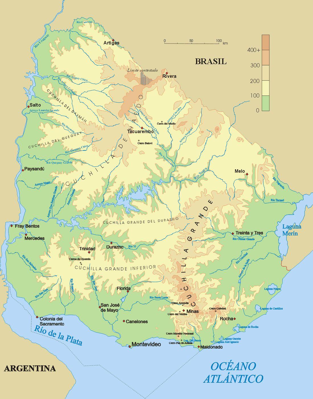 geographic map of Uruguay. | Uruguay | Pinterest | Uruguay, South ...