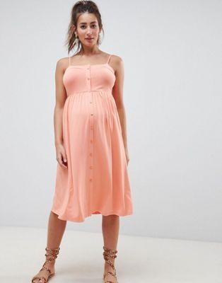 8848d2197 Vestido amplio midi con botones en la parte delantera y cuello cuadrado de  ASOS DESIGN Maternity