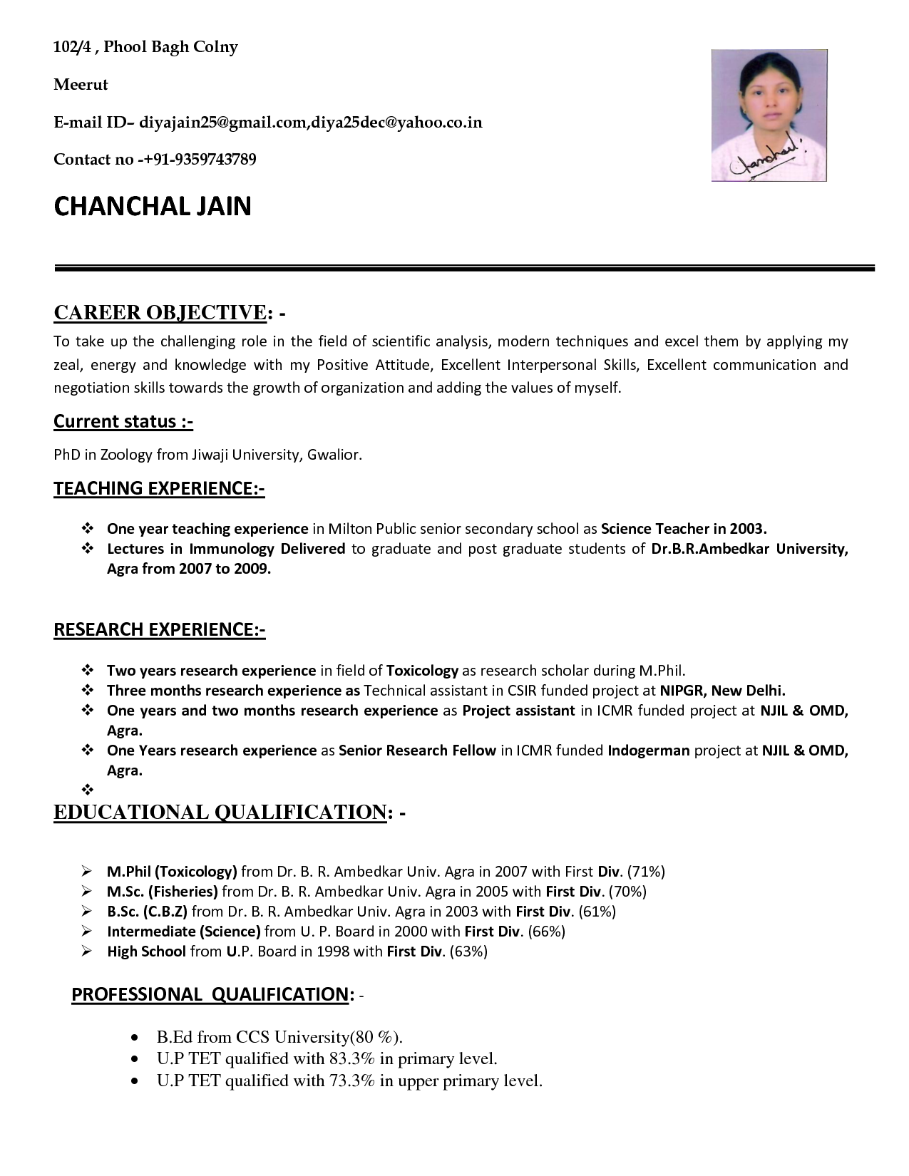 sample resume for teacher job application