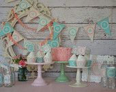 Shabby Chic Green Turquoise Pink Girly Polka Dot Vintage 1st Birthday/Baby Shower Party Digital Printable DIY Banner