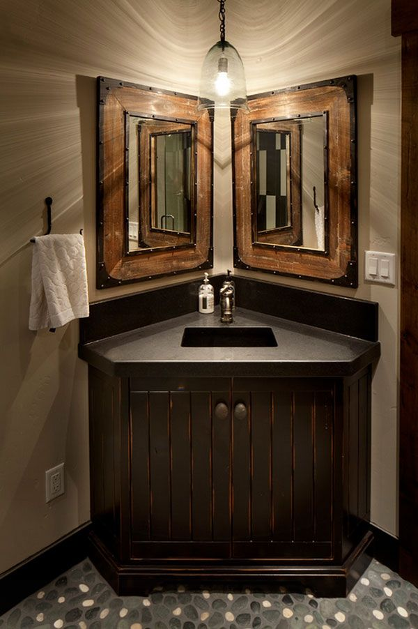 Impressive Ideas Of Rustic Bathroom Vanity Rustic Bathroom - Corner mirror for bathroom for bathroom decor ideas