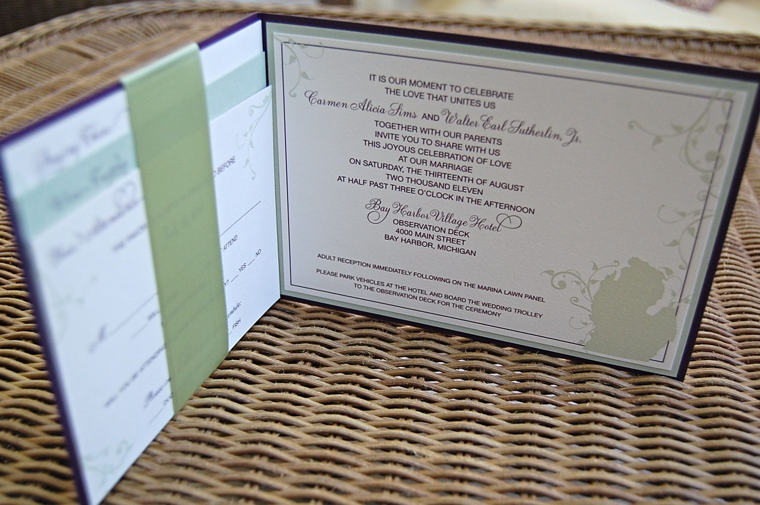 Booklet style invitation. Invitation on right; directions and hotel ...