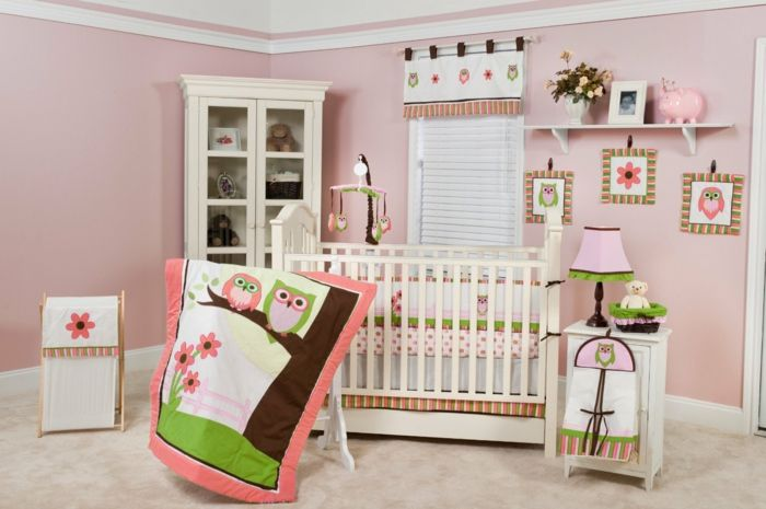 einrichtung kinderzimmer decke eulen grün rosa lila dekorationen ... - Kinderzimmer Grun Lila