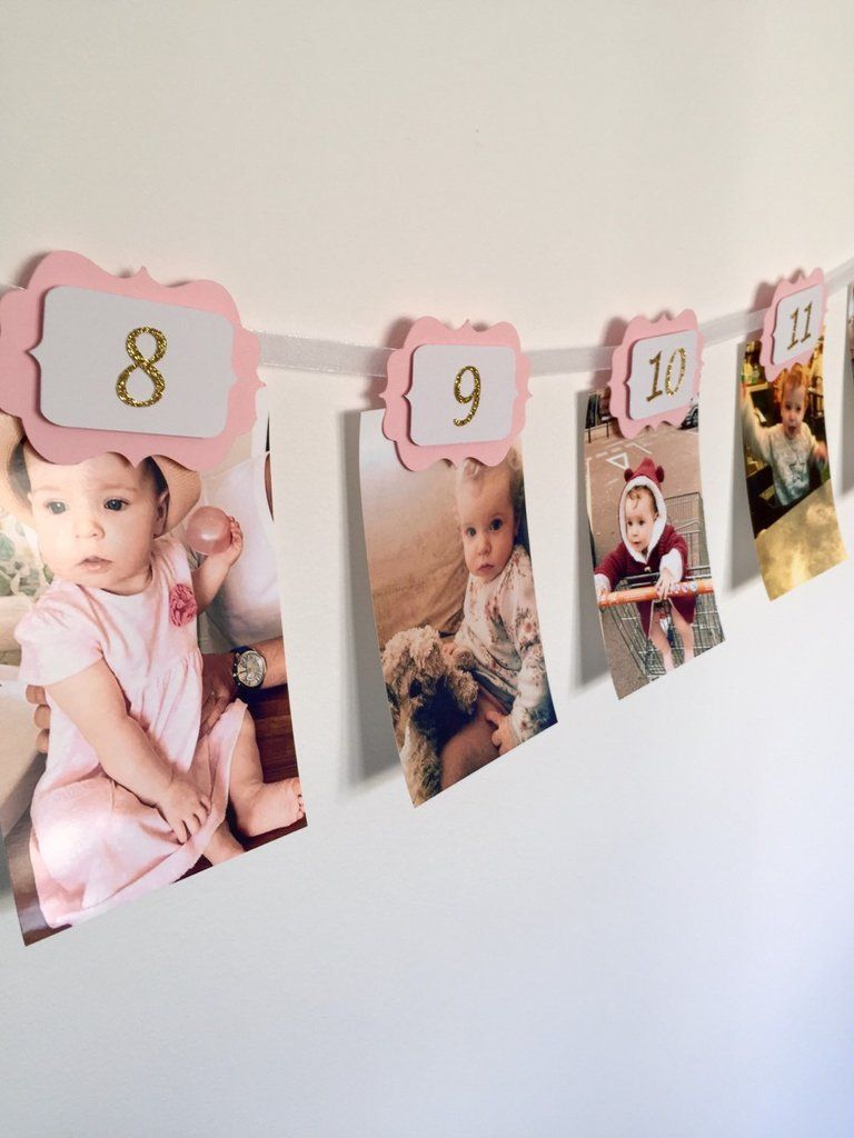 3c5d866c251 12 months photo banner. First birthday banner. Pink and gold. Gold glitter  birthday. Boy and girl.