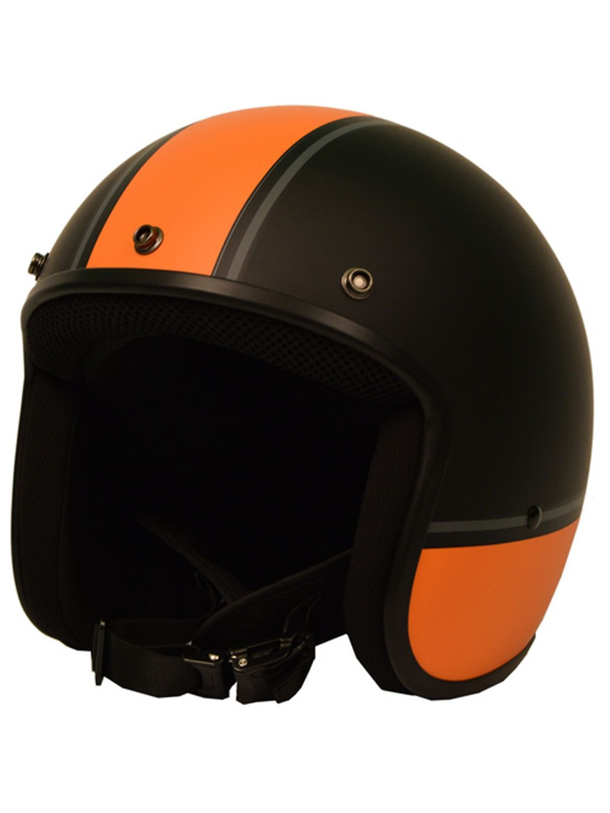 Sick Lid 3 4 Retro Orange Racing Stripe Motorcycle Helmet