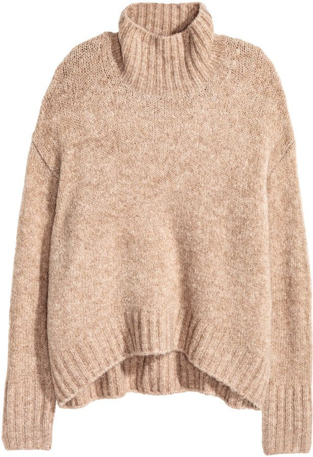 H&M - Knit Turtleneck Sweater - Beige melange - Ladies | Outfit Me ...
