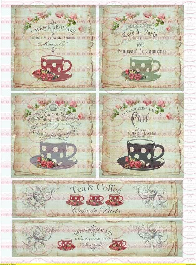 Bügelbilder - Bügelbild Tee Cafe de paris DIN A4 - ein Designerstück von Doreens-Bastelstube bei DaWanda