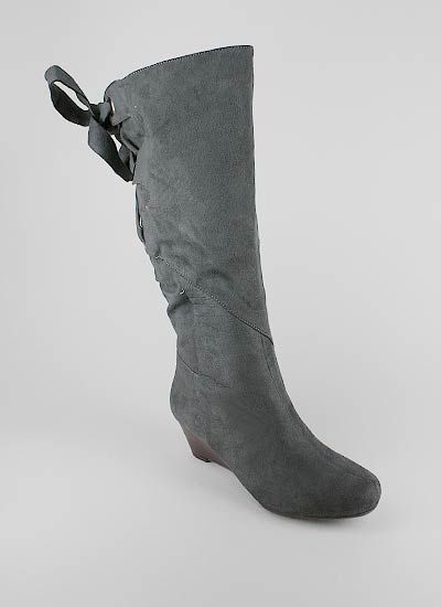 bow back suede wedge boot $22.95
