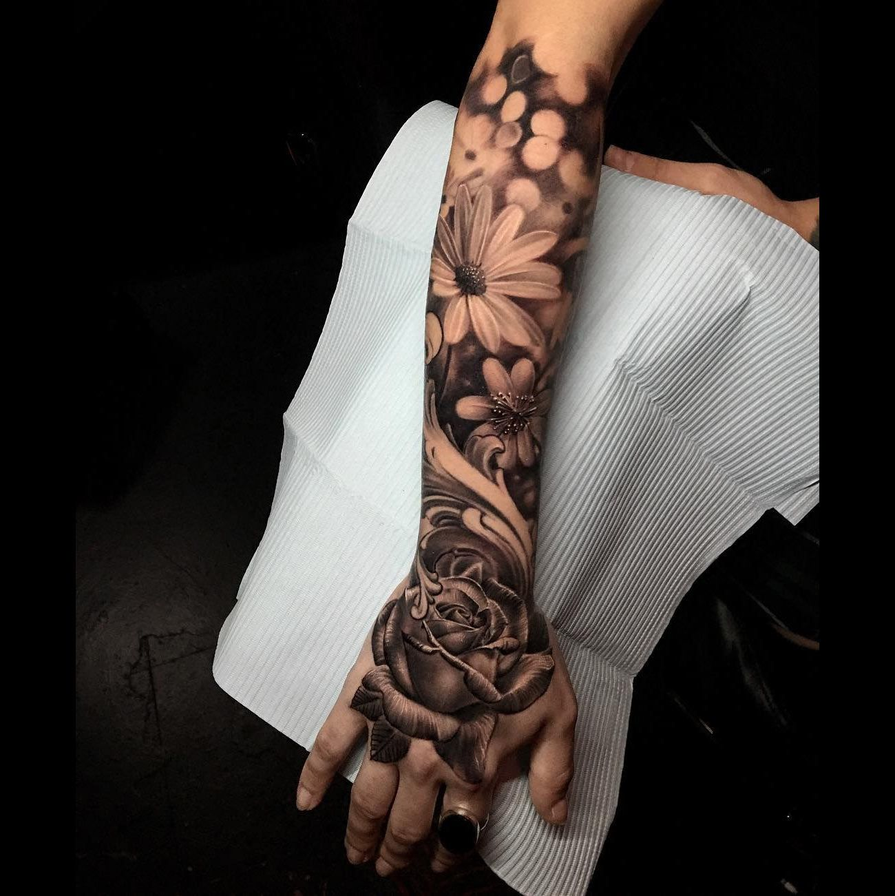 Floral Half Sleeve Full sleeve tattoos, Tattoos, Hand