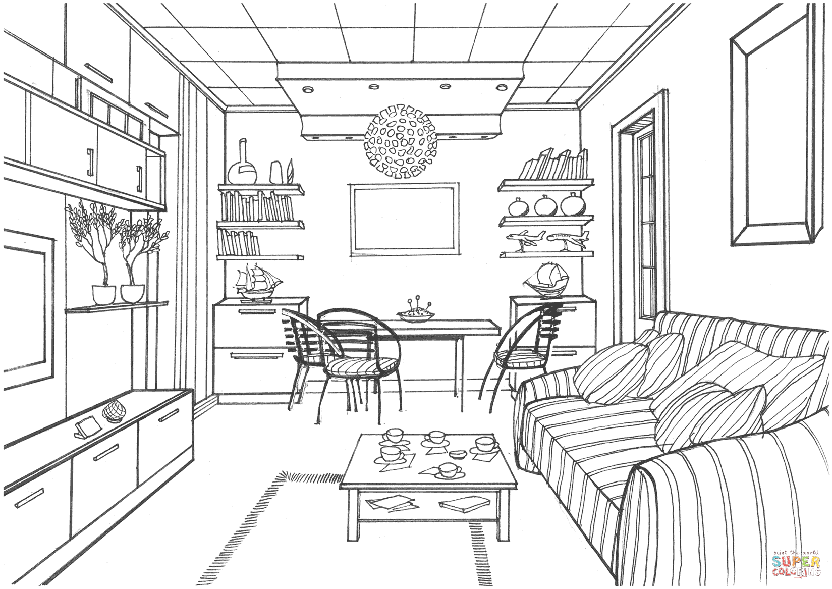 Living Room With A Luminous Ball Coloring Page From Interior Design Category Select Interior Design Drawings Interior Design Sketches Room Perspective Drawing