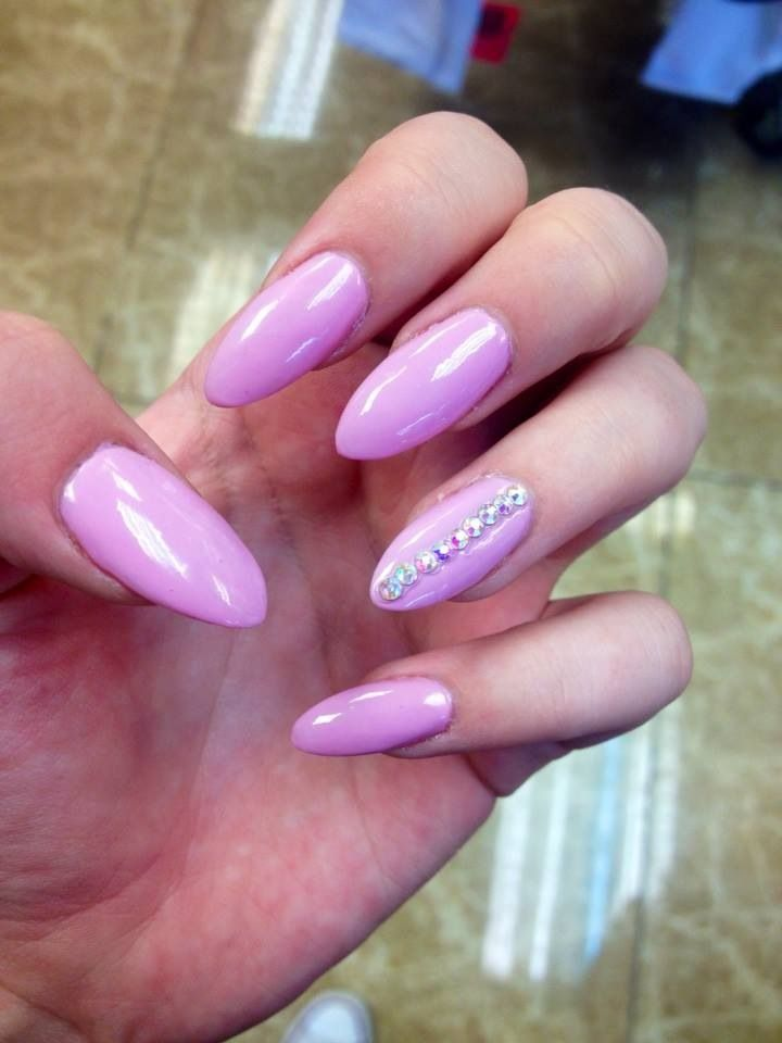 Pink long pointed finger nail design gold studs | NAILS | Pinterest ...