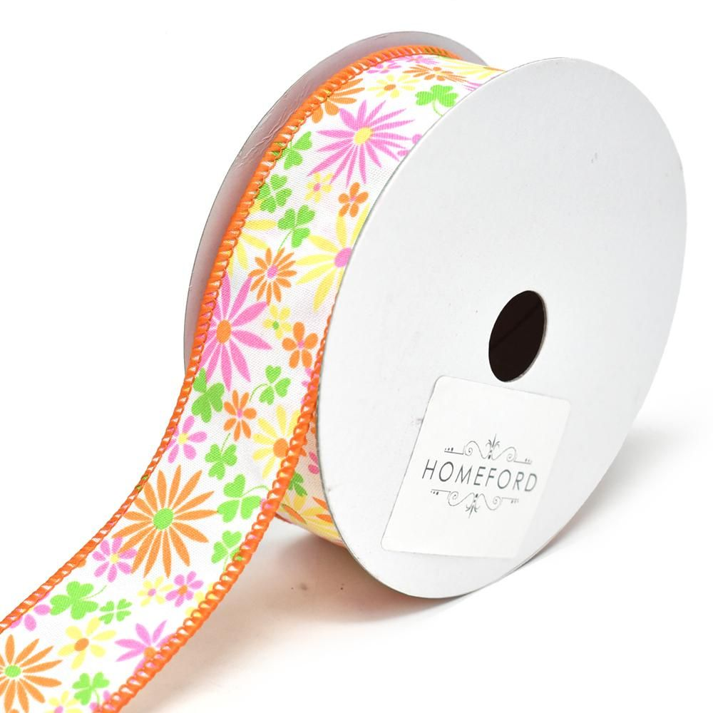 Botanical Tabitha Floral Wired Ribbon 1 1 2 Inch 10 Yard Wired Ribbon Floral Ribbon