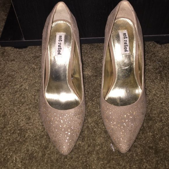 Taupe and Gold heels Gorgeous taupe and gold heels!  Only worn once for Christmas and in great condition.  Size 6.  Heels are 4 inches. Shoes Heels