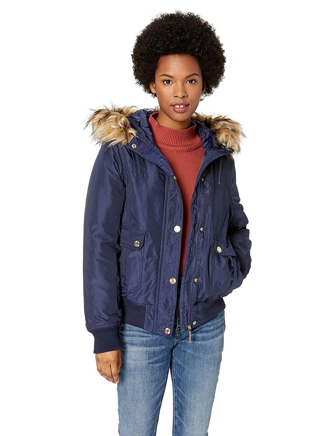 Women S Fashion Bomber Jacket Navy Cd18c0552kg Size Small Womens Outdoor Clothing Fashion Outdoor Outfit [ 1500 x 1154 Pixel ]