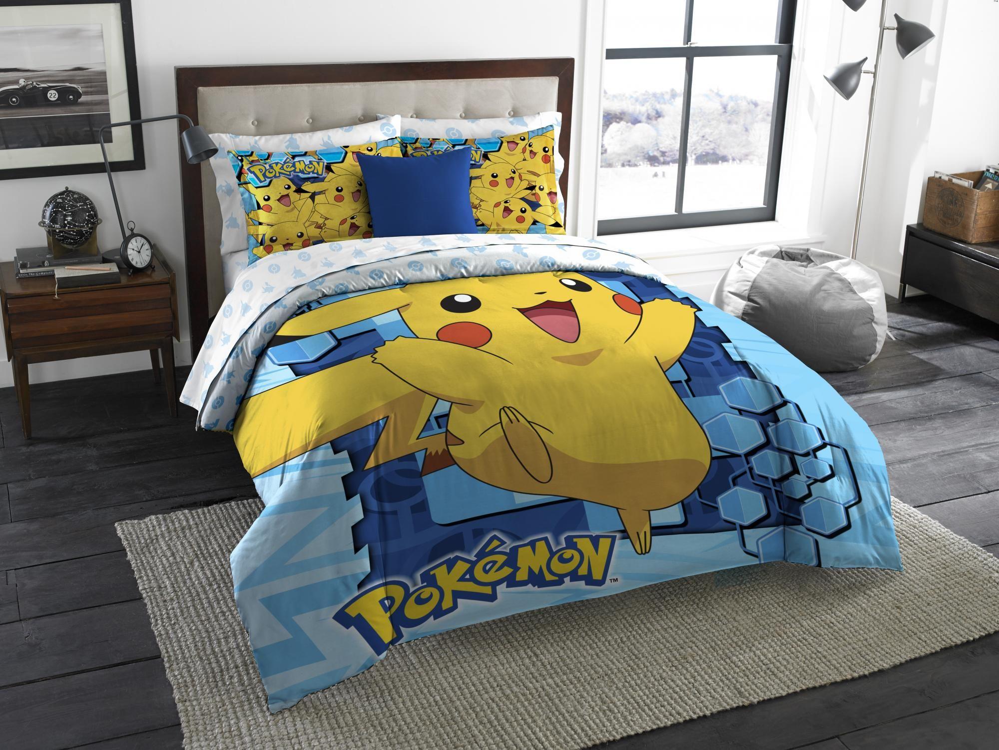 Pokeman Big Pika Licensed Bedding Twin Full Comforter Hot Home Goods Comforter Sets Comforters Pokemon Bedding