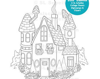 Digital Stamp, Cute House, Whimsical House, digistamp, instant download