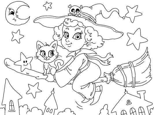 a cute witch coloring page for halloween. many more